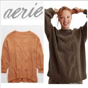 Aerie oversized happy place cable sweater Size S